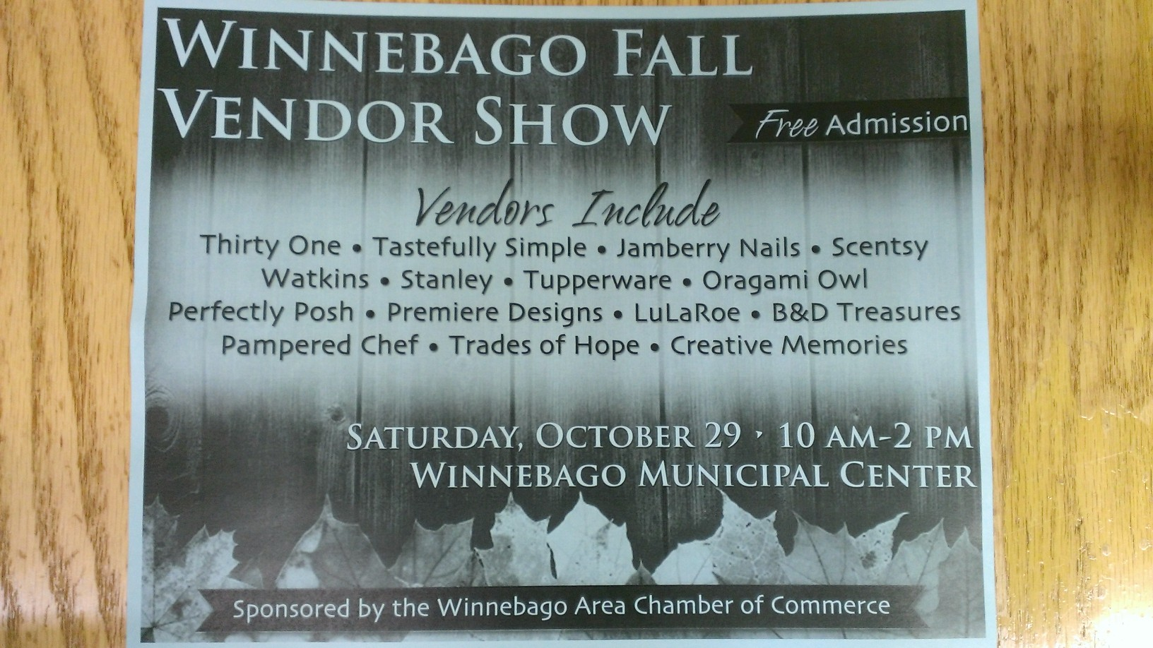Fall Vendor Fair October 29 2016