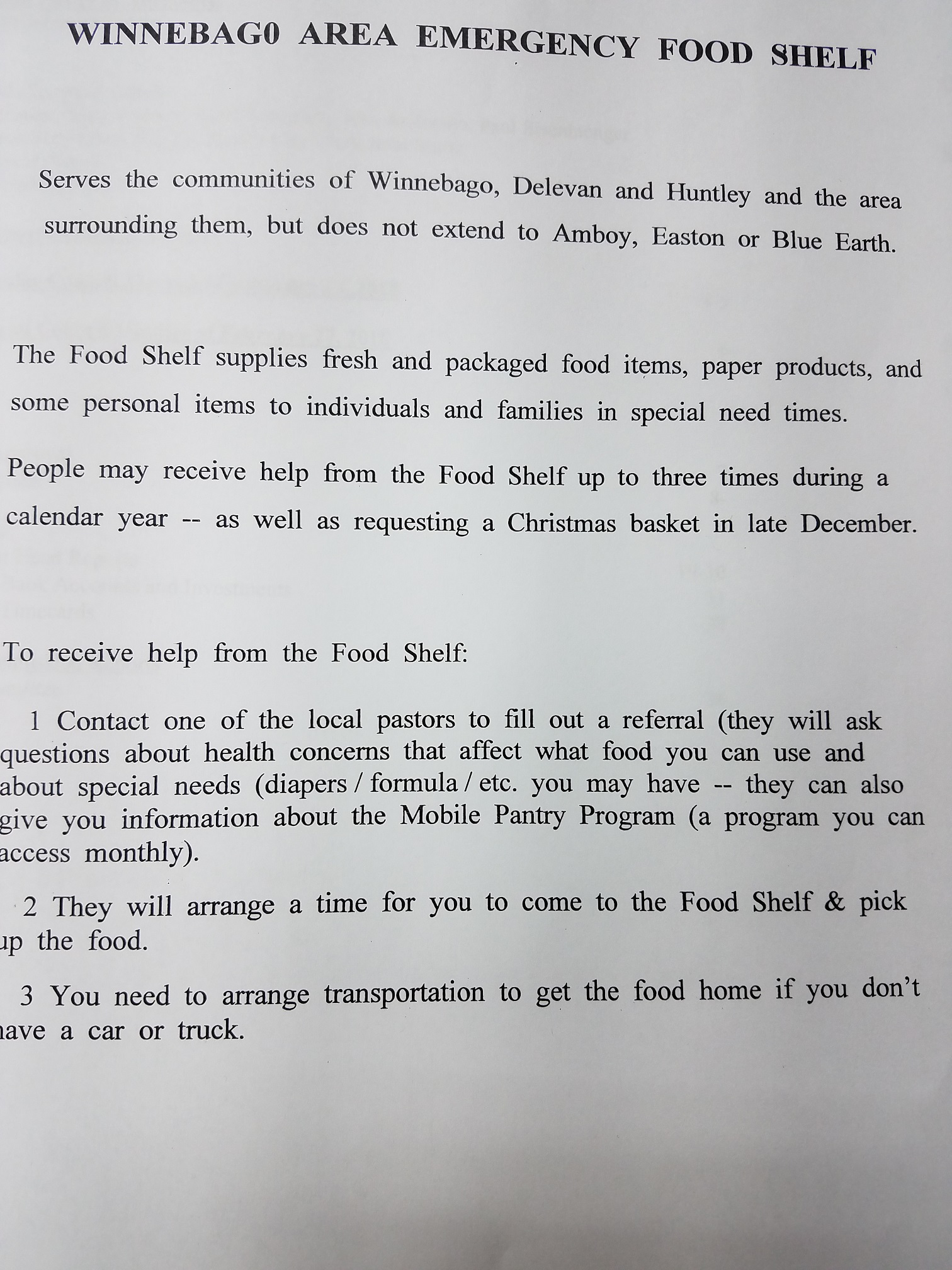 Winneabgo Area Food Shelf information